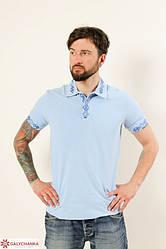"""Чоловіча,ошатна футболка-поло """"Лідер"""",тканина лакоста , розміри 42,44,46,48,50 (046) блакитна з синім"""