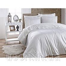 Комплект постельного белья сатин c гипюром  ТМ Gardine's Mila crem