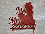 Індивідуальний Весільний топпер Mr&Mrs з датою весілля Пластикові топпери Топпери в блискітках Топпери на замовлення, фото 3