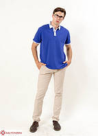 """Мужская,нарядная футболка-поло """"Лидер"""",ткань лакоста , размеры 42,44,46,48,50,52 (046) электрик с белым"""