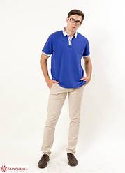 """Чоловіча,ошатна футболка-поло """"Лідер"""",тканина лакоста , розміри 42,44,46,48,50,52 (046) електрик з білим"""