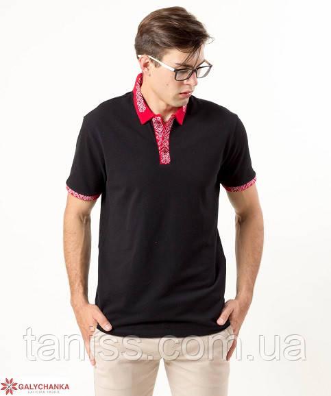 """Мужская вышитая футболка-поло """"Оптимист"""",ткань лакоста , р. 44,46,48,50,54,56 красно-белая вышивка"""