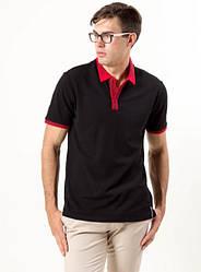 """Чоловіча вишита футболка-поло """"Оптиміст"""",тканина лакоста , р. 44,46,48,50,54,56 чорна з червоним"""