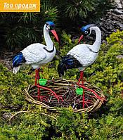 Садовая фигура Семья журавлей керамических №2  в гнезде на металлических лапах