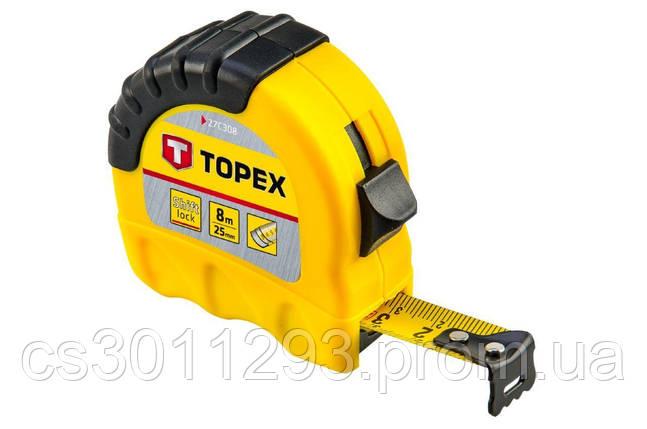 Рулетка Topex - 8 м х 25 мм, Shiftlock, фото 2