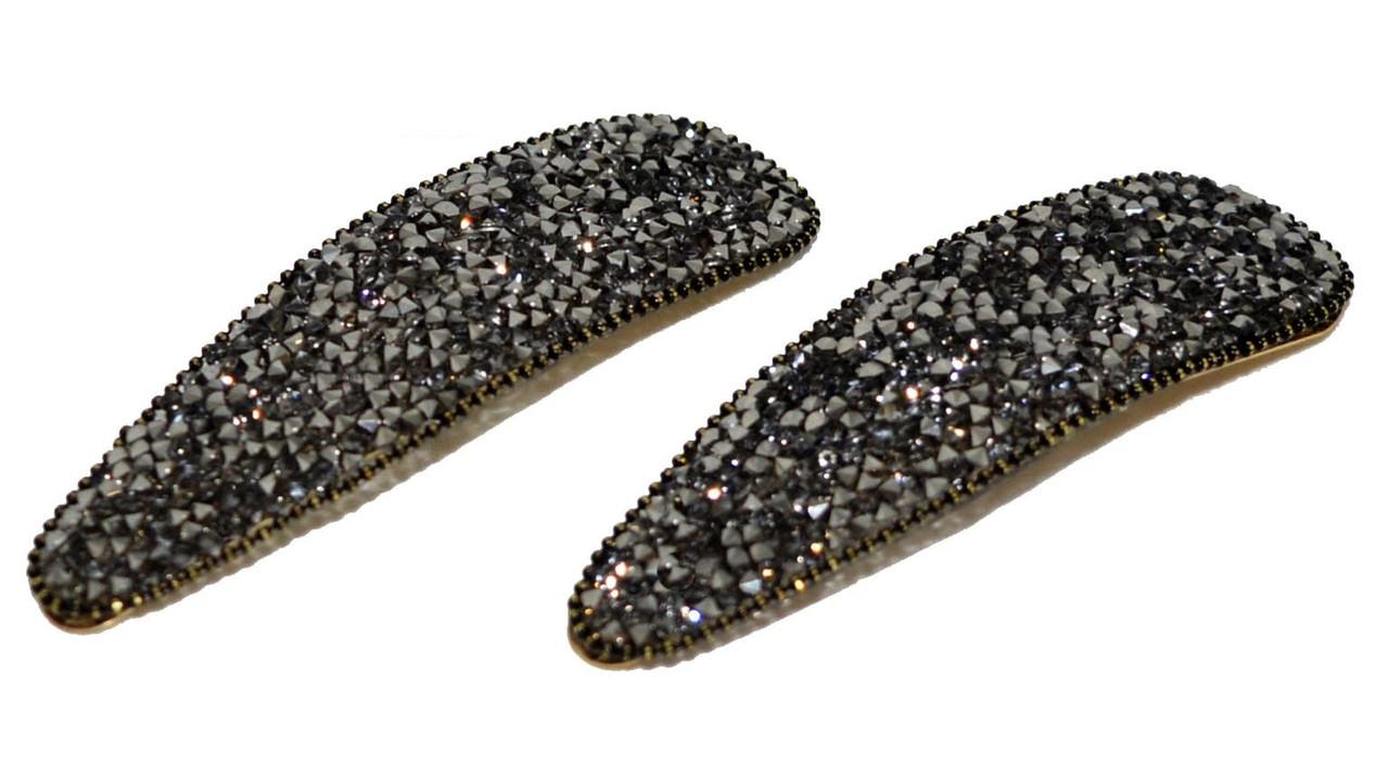 Шпильки затискачі хлопавки для волосся зі стразами (2 шт)