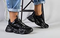 Женские кожаные кроссовки на платформе, черные, код FS-5109