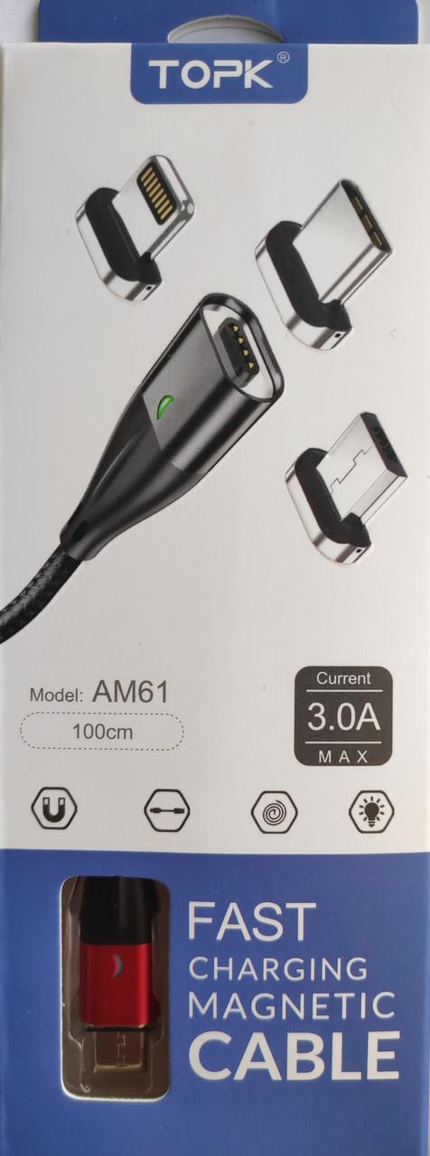 Кабель магнитный TOPK 3A USB TYPE C 1м. в оплетке для зарядки и синхронизации. Поддержка быстрой зарядки BOX