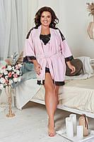 Шикарный комплект для сна майка шорты халат с кружевом размер 50-52 54-56 58-60 62-64 розовый красный черный