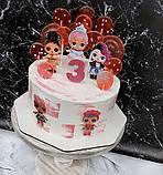 Топпери ЛОЛ, прикраси для торта LOL на дерев'яній основі ( 9 видів ), топери LOL на торт, ляльки ЛОЛ топпери, фото 2