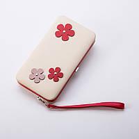 Кошелек женский / клатч жіночий гаманець бордо красный цвет белый