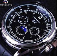 Forsining 319 Black-Silver-Black Часы мужские наручные механические с автоподзаводом