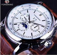 Forsining 319 Brown-Silver-White Часы мужские наручные механические с автоподзаводом