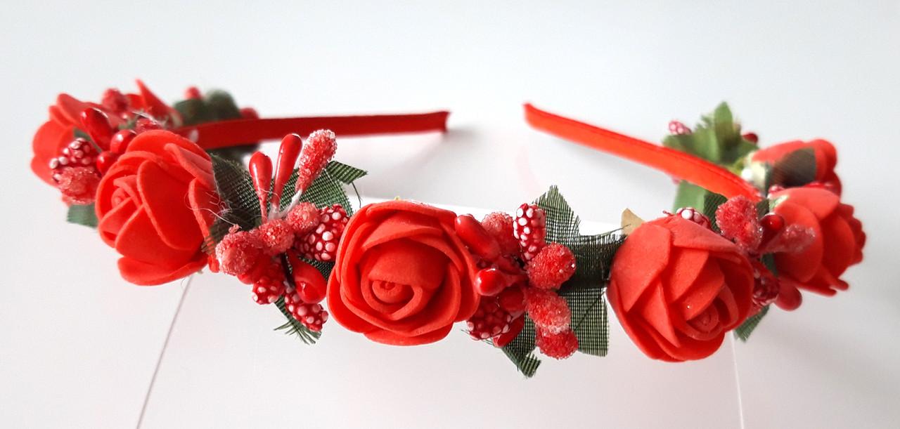 Обруч веночек ручная работа красные розы и ягоды