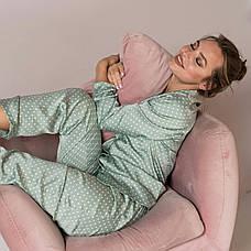 Пижама шелковая в горошек  женская светло-зеленая, фото 2