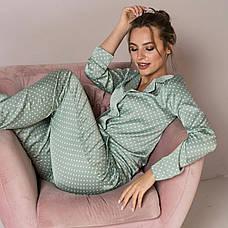 Пижама шелковая в горошек женская светло-зеленая, фото 3