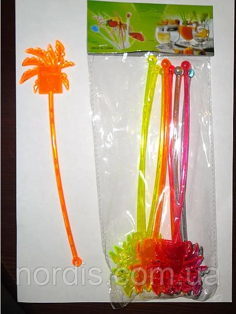 """Мешалки пластиковые для коктейлей. """" Пальма"""" 22 см. 10 шт."""