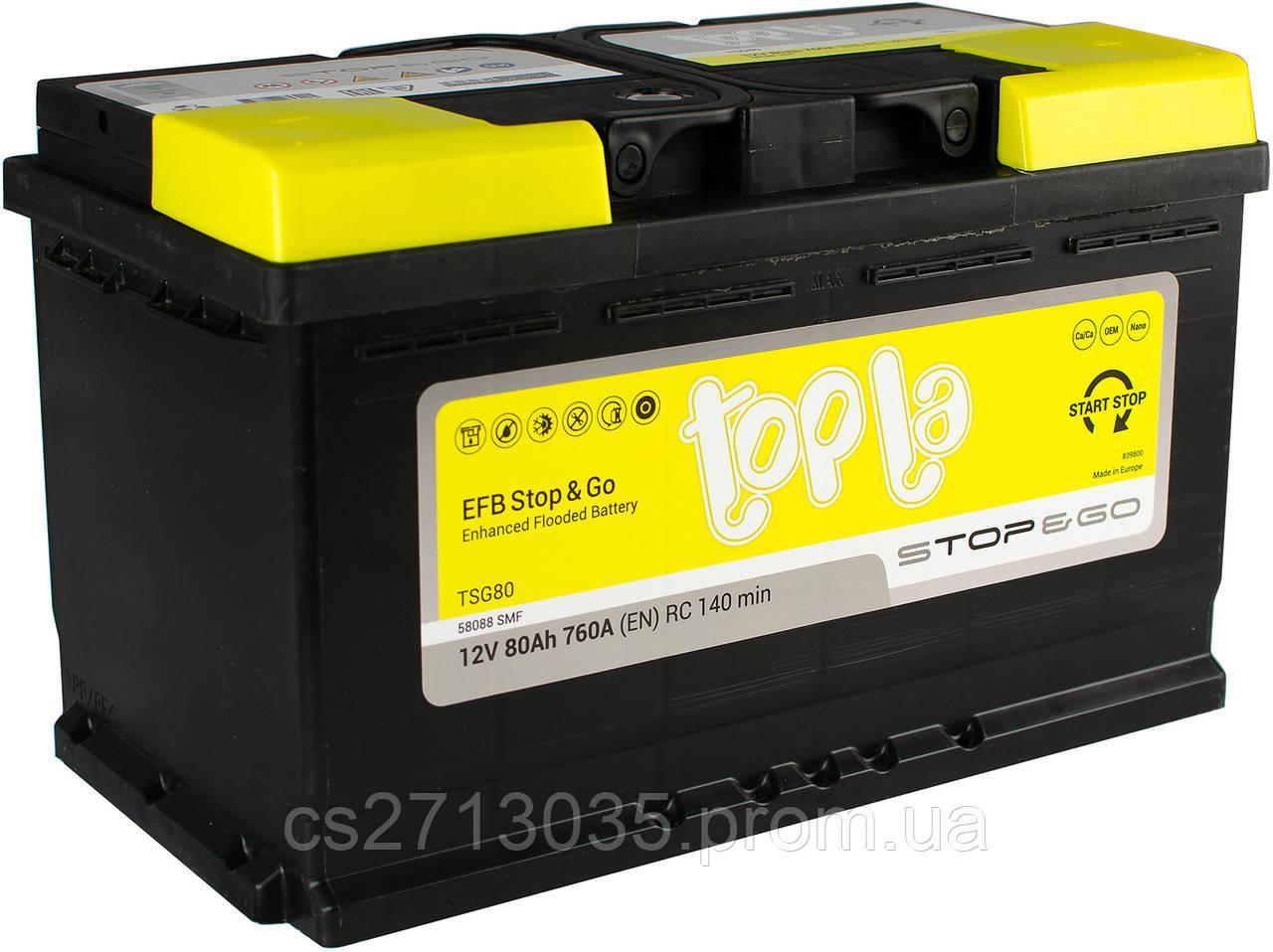 Автомобильный аккумулятор Topla EFB 80 Ач 760 А (0) R+