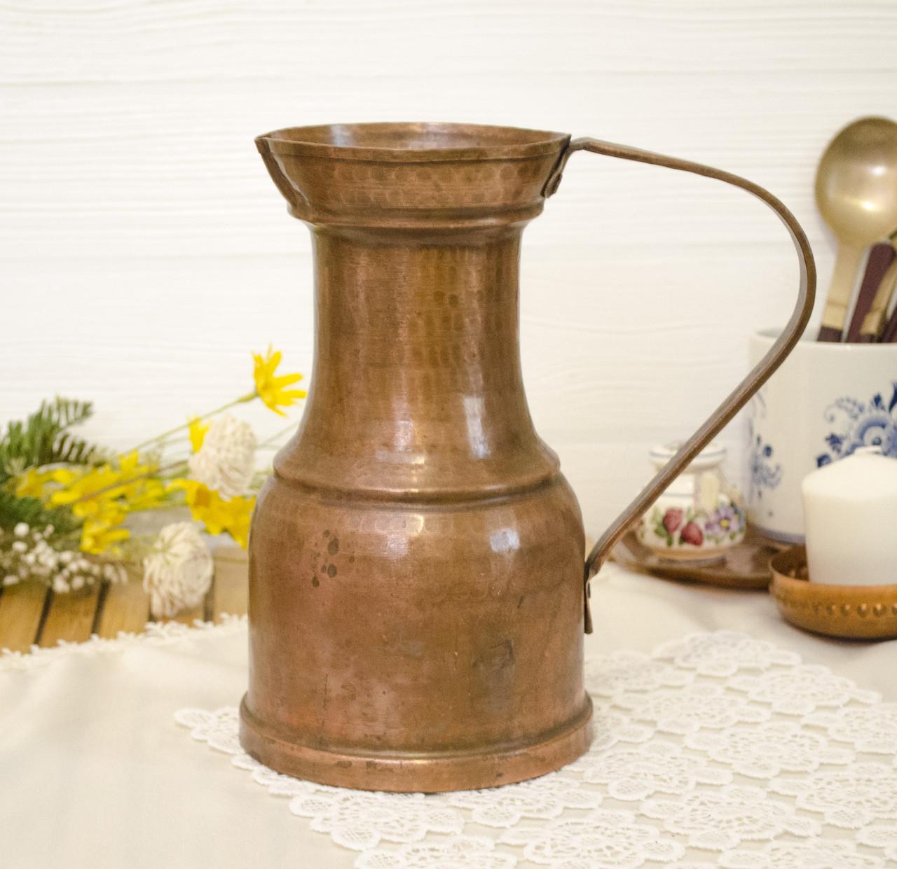 Старый медный кувшин ручной работы, старая медь, Германия, 1,7 литра