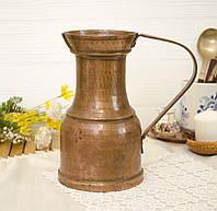 Старый медный кувшин ручной работы, старая медь, Германия, 1,7 литра, фото 1