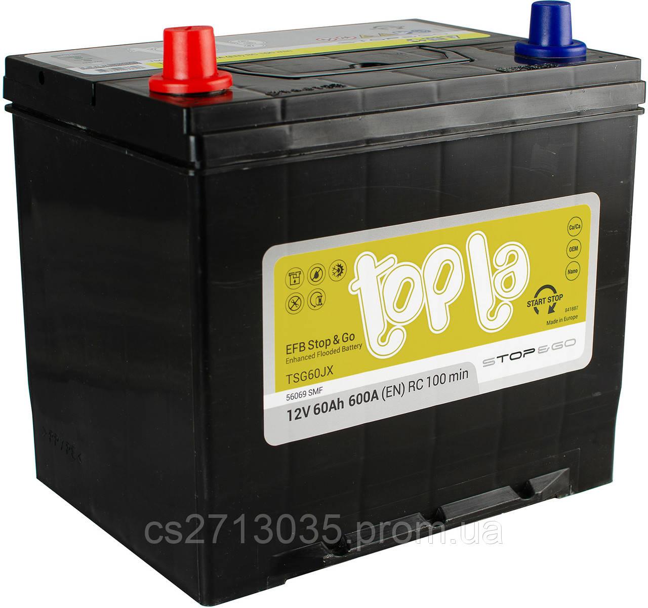 Автомобильный аккумулятор Topla EFB asia 60 Ач 600 А (0) R+
