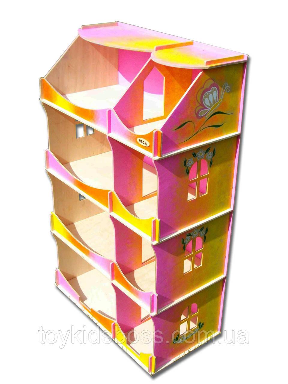 Кукольный домик-шкаф Hega радужный с росписью (090P)