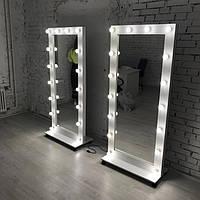 Гримерное зеркало 180 х 80 с лампами во весь рост на колесах ( Зеркало ростовое напольное )