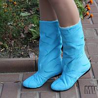 Сапожки женские нежно-голубые.  Арт-0339, фото 1