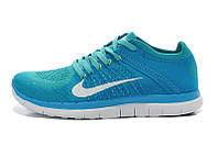 Женские беговые кроссовки Nike Free Run Flyknit 4.0, текстиль, голубые, Р. 36 37 38 39