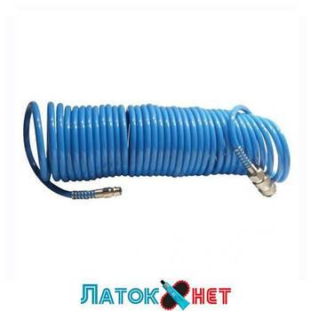 Шланг воздушный ПВХ спиральный с быстроразъемным соединением 5,5х8мм 15м PT-1708 Intertool
