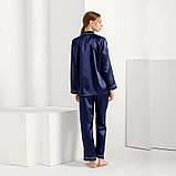 Пижама женская атласная на пуговицах. Комплект шелковый для дома, сна с длинным рукавом, XL Синий, фото 2