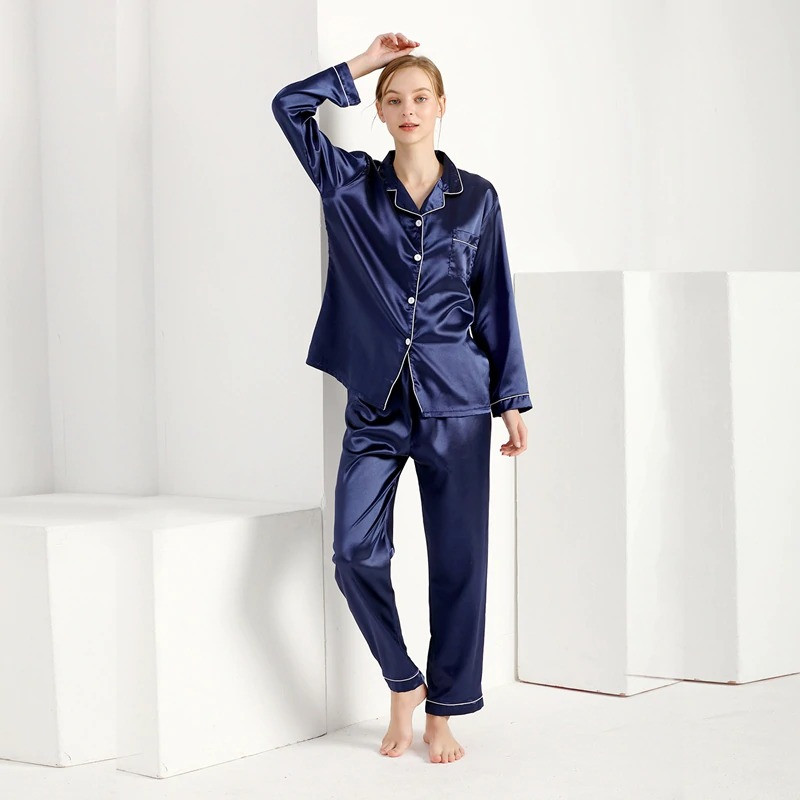 Пижама женская атласная на пуговицах. Комплект шелковый для дома, сна с длинным рукавом, XL Синий
