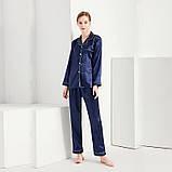 Пижама женская атласная на пуговицах. Комплект шелковый для дома, сна с длинным рукавом, XL Синий, фото 4
