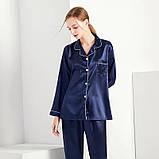 Пижама женская атласная на пуговицах. Комплект шелковый для дома, сна с длинным рукавом, XL Синий, фото 3