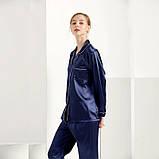 Пижама женская атласная на пуговицах. Комплект шелковый для дома, сна с длинным рукавом, XL Синий, фото 6