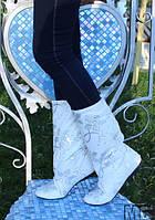 Сапожки женские белые паетки.  Арт-0345, фото 1