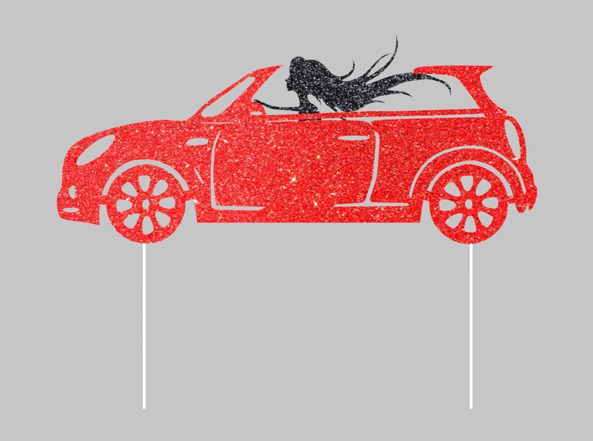 Девушка в кабриолете топпер на торт, Топпер девушка за рулем, Топпер в красных блестках, Fortune3D