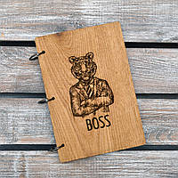 Блокнот с деревянной обложкой. Boss. (А00623)