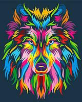 Картина по номерам Brushme Радужный волк. Поп-арт GX23828 40х50 см