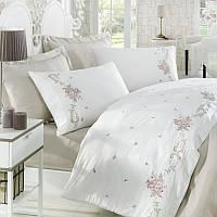 Семейное постельное белье сатин с вышивкой Dantela Vita ROSENNA