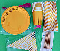 Набор фольгированной посуды для праздника золото