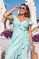 Милое летнее платье миди на запах с открытым верхом на полных дам цвет мята, р. 48-54 универсальный