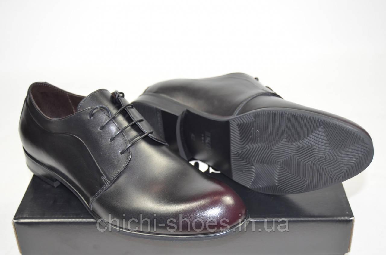 Туфли мужские IKOS 060-6 чёрные кожа на шнурках