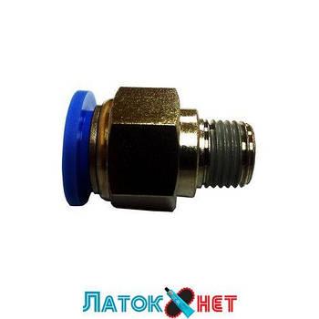 Соединитель быстроразьемный наружная резьба 1/4 (13мм) - пластиковый шланг 8 мм PC 0802 Sumake