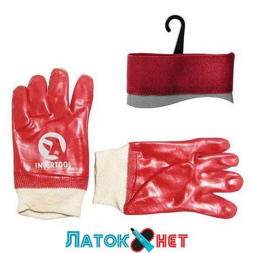 Перчатка маслостойкая хлопчатобумажная трикотаж покрытая красная SP-0006 Intertool