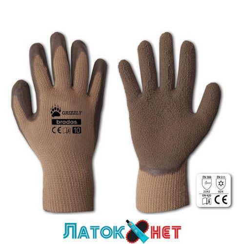 Перчатки защитные Grizzly латекс размер 10 RWG10 Bradas