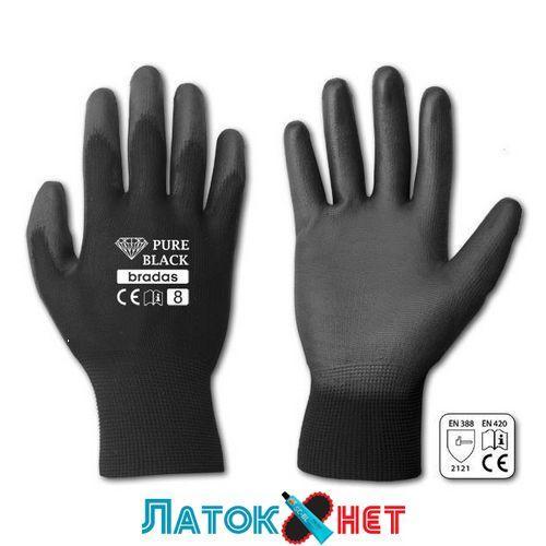 Перчатки защитные Pure Black полиуретан размер 7 RWPBC7 Bradas