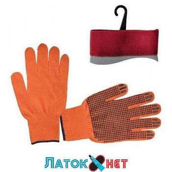 Перчатка хлопчатобумажная трикотаж с PVC оранжевая SP-0131 Intertool