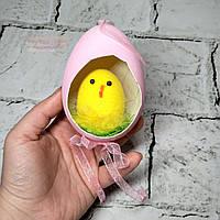 Декор пасхальный, подвеска Пасхальное яйцо с цыпленком, розовое