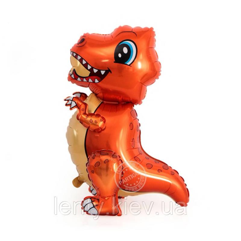 """Шар фигурный  4-Д  """"Динозавр Тиранозавр малыш"""" 75 см оранжевый Китай"""